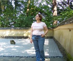 Me by a Zen garden at the Japanese Garden in Portland