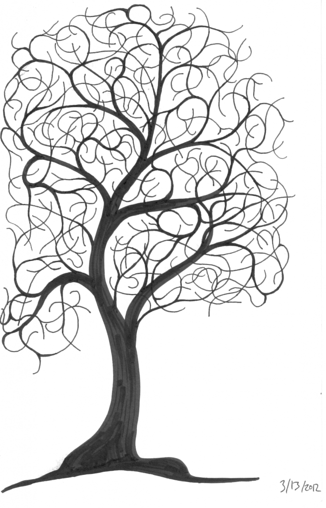 Tree Line Art Design : I made a little art ninth circle design