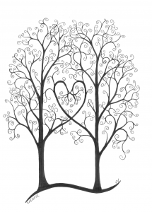 Two trees next to each other, branches making a heart, swirls for leaves