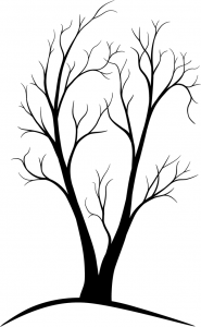 A sparse, two-trunked tree made of VECTORS