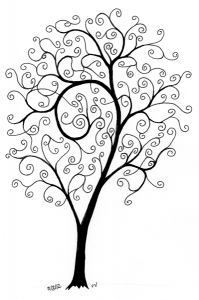 Tree with few large branches, many spiraling tips