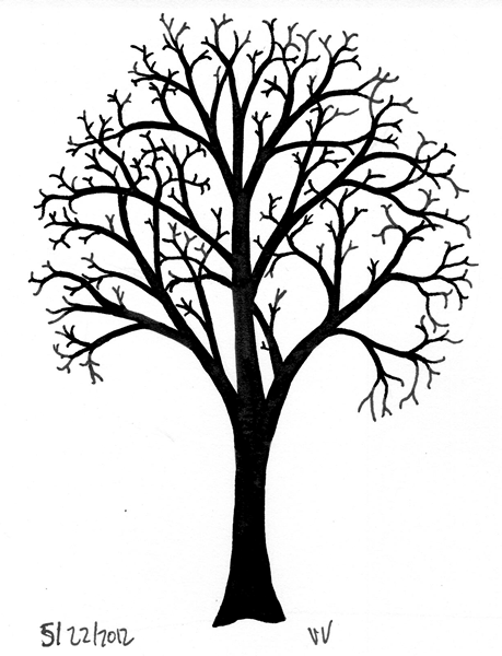 Tree With Small Branches Ninth Circle Design