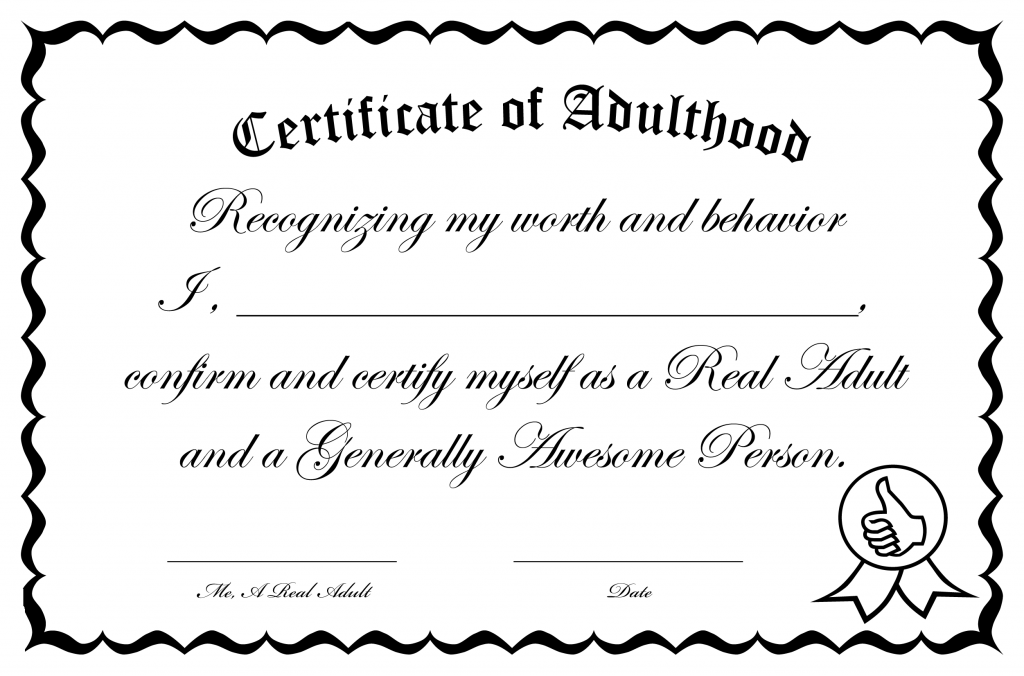 Certificate of Adulthood