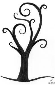 A black tree of few, leaf-less, swirling branches.