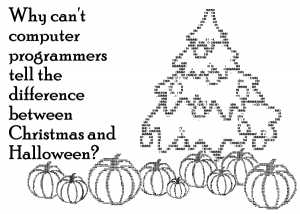 ASCII Christmas tree with ASCII pumpkins under it