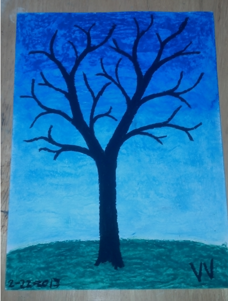 Oil pastel of a black, leafless tree against a blue background