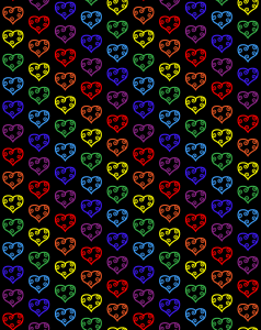 a repeating rainbow pattern of hearts on a black background