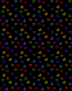 a repeating scatterd pattern of variously colored hearts on a black background