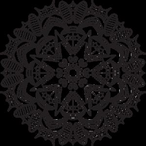 a black and white circular repeating pattern (aka, mandala)