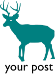 A teal deer with black text underneath [your post]