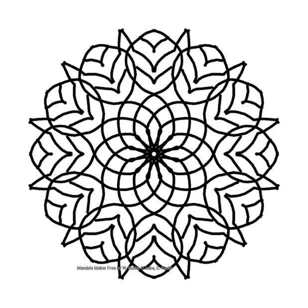A black radially symmetric design on a white background