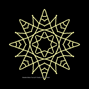 White geometric design with radial symmetry on black background