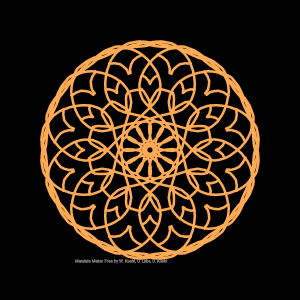 Radially symmetric geometric design in orange on a black background