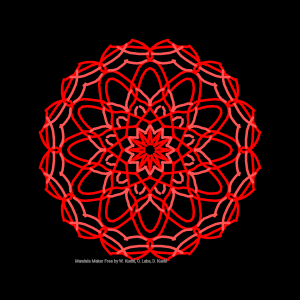 Radially symetric geometric design in shades of red and pink on black background