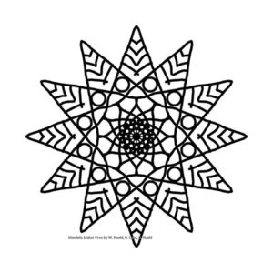 A black radially symmetric design on a white background