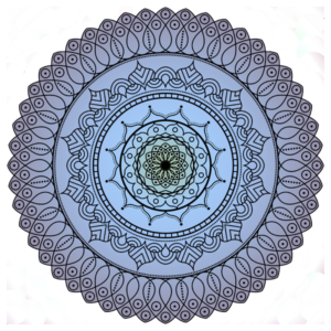 a radially symmetrical design with concentric circles, curliques, and dots and a background of green, blue, and purple