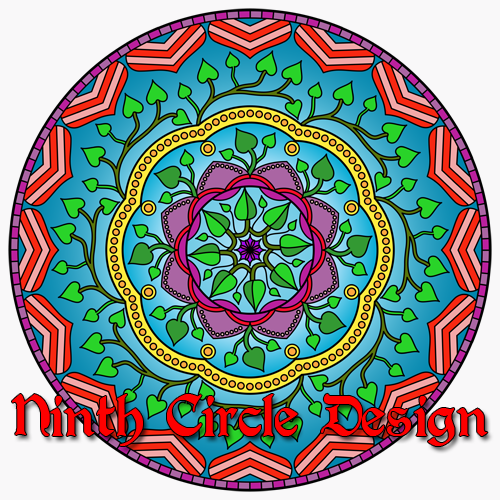 The Heart Like a Flower Grows a mandala with a a blue background, green leaves, striped red/pink hearts, purple petals, and a ring of yellow with orange dots