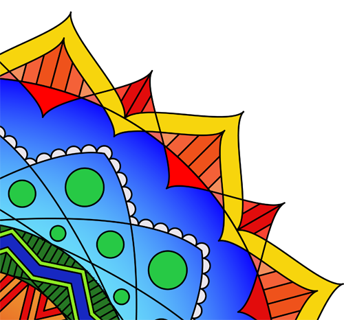 Upper right quadrant of a mandala mostly blue with an edge of yellow and red and green dots
