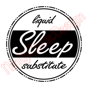 "a black outlined circle with the words ""liquid sleep subsitute"" inside"