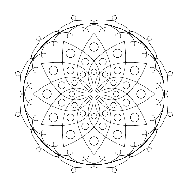 square image, transparent background, black outlines of a 12-fold symmetric mandala