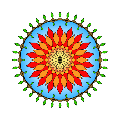transparent background, 18-fold symmetrical mandala with yellow/orange/red center, blue, then brown/green edge