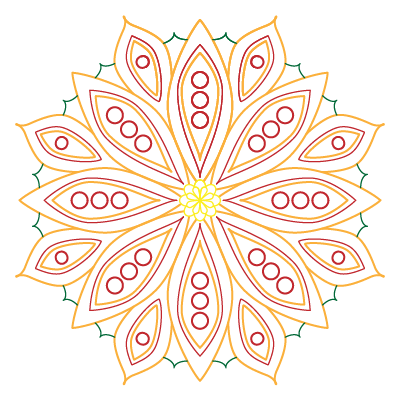 square image, transparent background, outlines in orange, red, and green, mandala with 8-fold symmetry