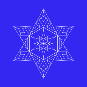 square image, deep blue background, white outlines of 6 pointed star mandala