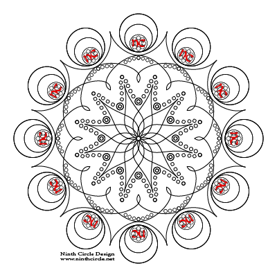 square image, white background, black outlines of a 12-fold symmetric mandala