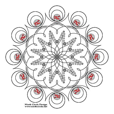 square image, white background, black outlines of a 12-fold symmetric mandala
