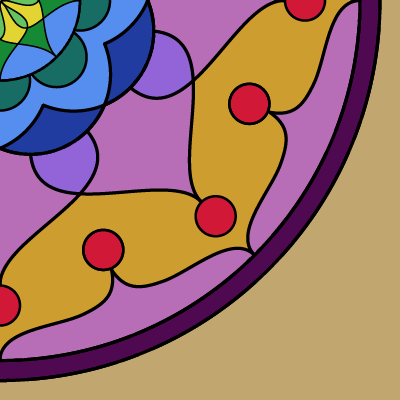 square image, beige background, mostly filled with a mandala issuing from upper left, arcs and swoops and circles, in purples, reds, yellows, and blues