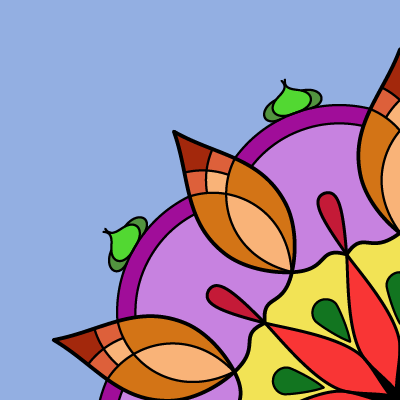 A square image with a blue-grey background, 1/4 of a mandala coming out from the lower right corner, mostly curved lines, in purples, browns, reds, and some yellow and green