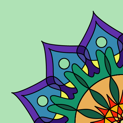 square image, light green background, lower right issuing 3 points of a mandala, in blues, purples, and greens towards the edge and oranges and red towards the center