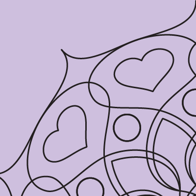 square image with light purple background and black outlines of part of a mandala with swoops and hearts