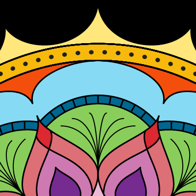 square image, black background mostly obscured by a brightly rainbow colored mandala with circles, arcs and onion shapes