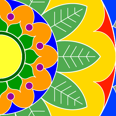 square image, with portion of a brightly colored centered on the left edge and filling the square, yellows and greens, bits of red, orange, blue, purple
