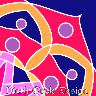 square image with geometric design colored in blue, red, purples, and yellows