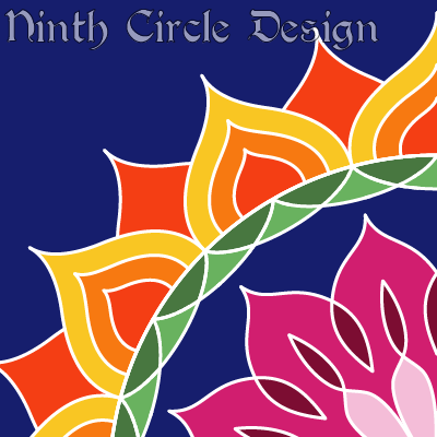 square design, dark blue background, from lower right issues a sort of flower with pink/purple center, then blue, green, and red/orange/yellow flame petals