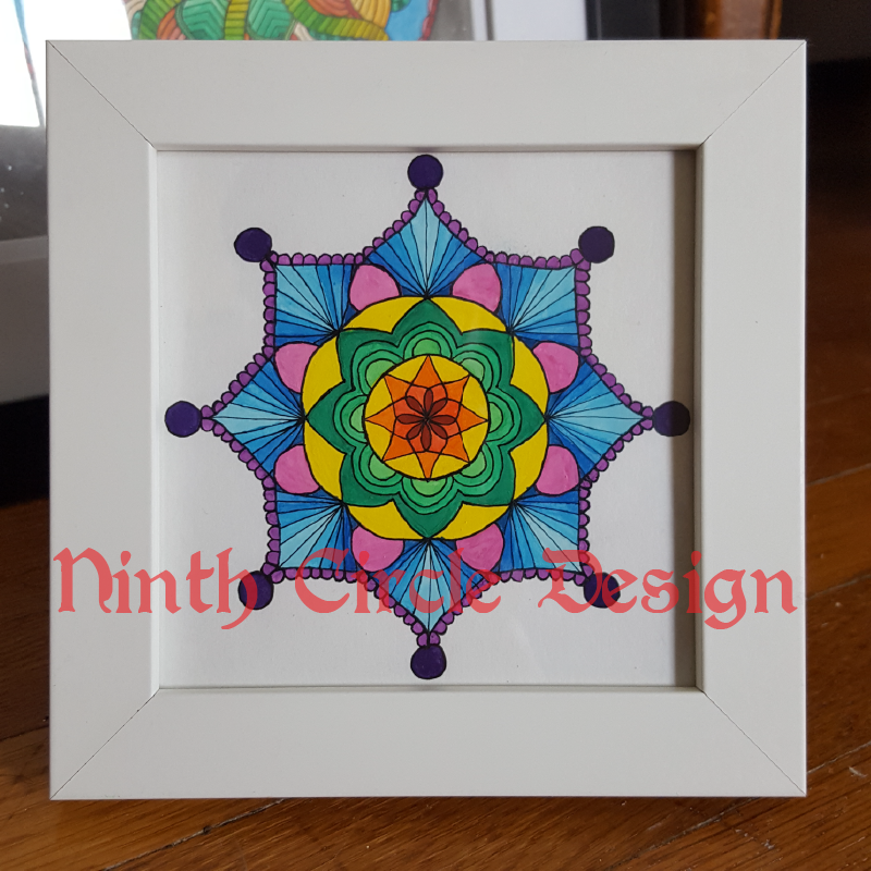 Photograph of a mandala, a 8-fold symmetric pattern painted in mostly blues, purples, and greens with a white background, in a white frame