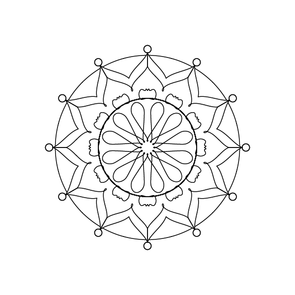 transparent background, black outlines of a 12-fold symmetrical mandala