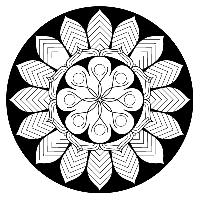 circular image, black background, 16-fold symmetric mandala in black and white
