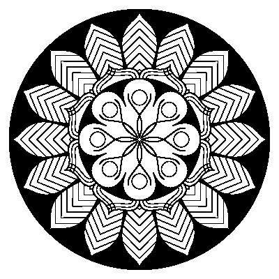circular image, black background, 16-fold symmetric mandala in black and white