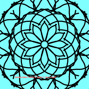 square image, black outlines of a roughly doodled mandala
