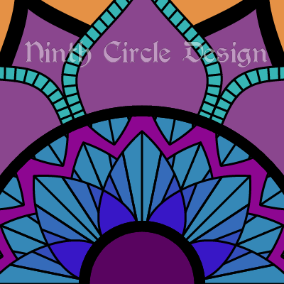square image with orange background mostly obscured by a geometric mandala colored in blues and purples