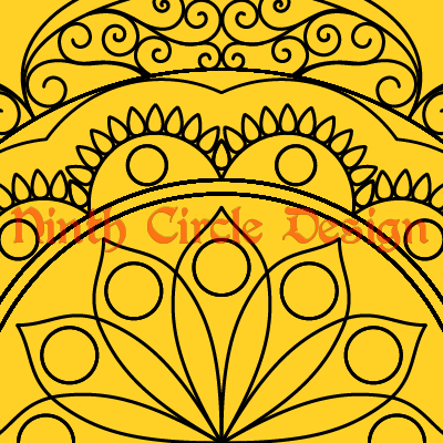 square image with yellow background and the black outlines of a radially symmetric mandala centered at the center bottom of the image