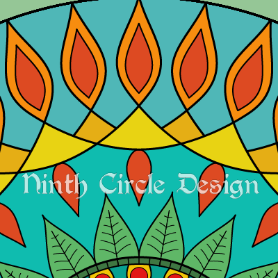 square image, snippet of a mandala in blues, greens, and red-orange-yellows