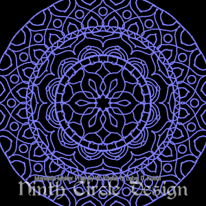 square image, black background, purple radially symmetric mandala design