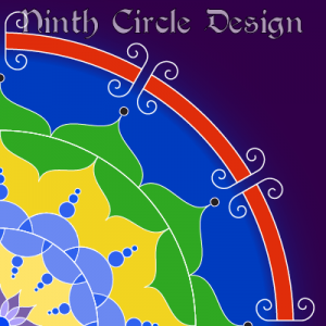 square image of the upper right quadrant of a mandala - yellow and light blue near the center, then green, deep blue, red, and deep purple, all with white outlines