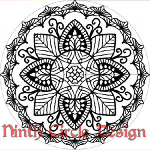 square image of a black and white radially symmetric design (mandala)