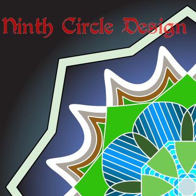 square image with black/blue background; issuing from lower right is a quadrant of a mandala with green/blue center, white/brown edges