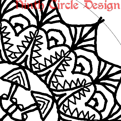 square image, white background, portion of a black outline mandala centered to lower left